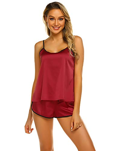 Ekouaer Sleepwear Womens Sexy Lingerie Satin Pajamas Cami Shorts Set Nightwear XS-XXL (15-Wine Red, Medium)
