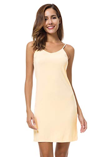 EaseWay Women's Basic Adjustable Spaghetti Strap Cami Under Mini Dress Nude]()