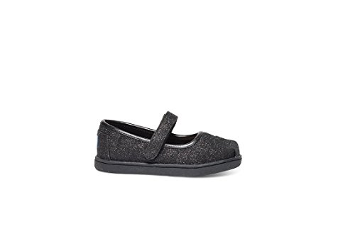 TOMS Kids Baby Girl's Mary Jane Flat (Infant/Toddler/Little Kid) Black Glimmer Flat 2 Infant (Toms For Toddlers On Sale)