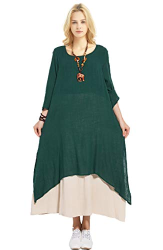 - Anysize Fake Two Piece Linen Cotton Dress Spring Summer Dress Plus Size Dress Y82,Jasper,Large