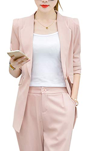 Women's 2 Piece Slim Fit Candy Colors Suits Set Business Office Blazer Jacket Pants from Aishang