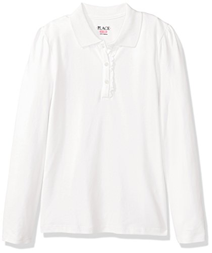 The Children's Place Little Big Girls' Long Sleeve Ruffle Polo Shirt, White, Small/5/6 (Big & Tall Long Sleeve Polo Shirts)