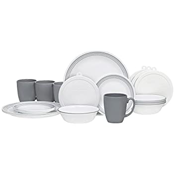 Corelle 20 Piece Livingware Dinnerware Set with Storage, Mystic Gray, Service for 4