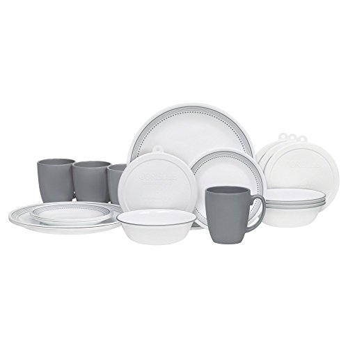 Corelle 20 Piece Livingware Dinnerware Set with Storage, Mystic Gray, Service for 4
