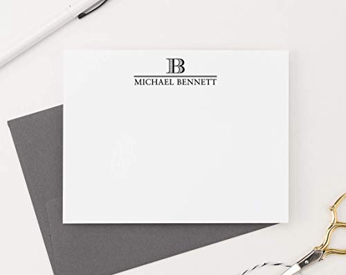 Personalized Flat Cards Stationery - Single Letter Initial Monogram Stationary Set FLAT NOTE CARDS, Personalized Monogram Stationery Set, Professional Monogram Stationery, Your Choice of Colors and Quantity