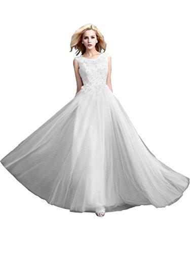 Beauty Rückenfrei Tull ärmellos Abendkleider Weiß Damen Hochzeitsgäste Lang Emily qAaH4p
