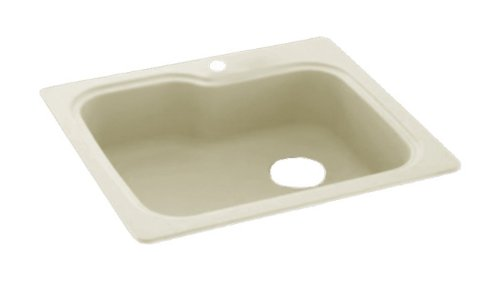Swanstone KS03322SB.037 Solid Surface 1-Hole Drop in Single-Bowl Kitchen Sink, 33-in L X 22-in H X 10-in H, Bone