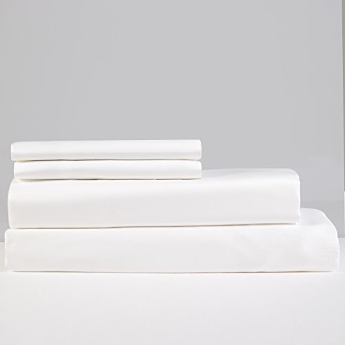 Lavish Lux Bedding 500 Thread Count 100 % Cotton Sateen Weave Silky Soft 4 PC Full Sheet Set - 2 Pillowcases, 1 Flat Sheet and 1 Fitted Sheet, Queen, White
