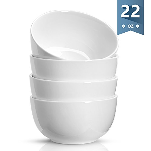 White Porcelain Rice Bowls - Sweese 1132 Porcelain Bowls - 22 Ounce for Cereal, Soup, Rice, Salad - Set of 4, White