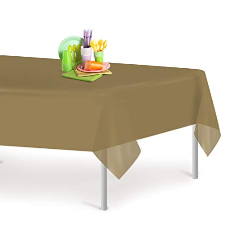 Gold 12 Pack Premium Disposable Plastic Tablecloth 54 Inch. x 108 Inch. Rectangle Table Cover By Grandipity