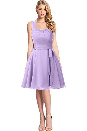 Cocktailkleid Schleife Neckholder Abendkleid Gorgeous lilac Z Partykleid Bride Chiffon Knielang Modern YXnw7CqS
