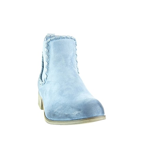 Angkorly - Scarpe da Moda Stivaletti - Scarponcini chelsea boots cavalier bi-materiale donna intrecciato borchiati Tacco a blocco 3.5 CM - Blu