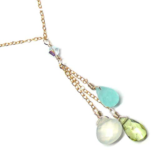 Peridot Chalcedony Serpentine Three Briolettes Dainty Y-Chain 18 Inches Gold-Filled
