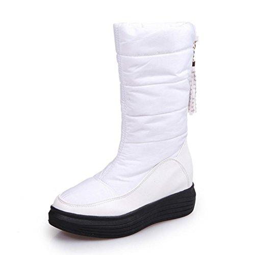 Ama (tm) Scarpe Tacco Piatto Donna In Pelle Stivali Invernali Caldi Stivali Da Neve Scarpe Bianche