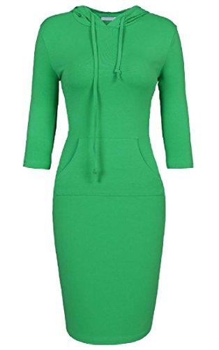 Dress Solid XS Party Evening Hood 4 Comfy 3 Sleeve Stylish Womens Slim Green TWwq4v