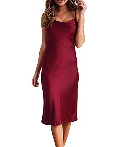 (Women Silk Satin Sleeveless Camisole Dress Sexy Satin Dot V Neck Cold Shoulder Backless Slim Chemise Nightdress Red)