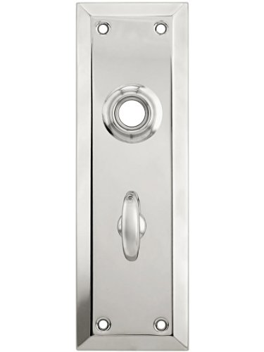 Stamped Brass New York Privacy Back Plate with Thumb Turn in Polished Nickel