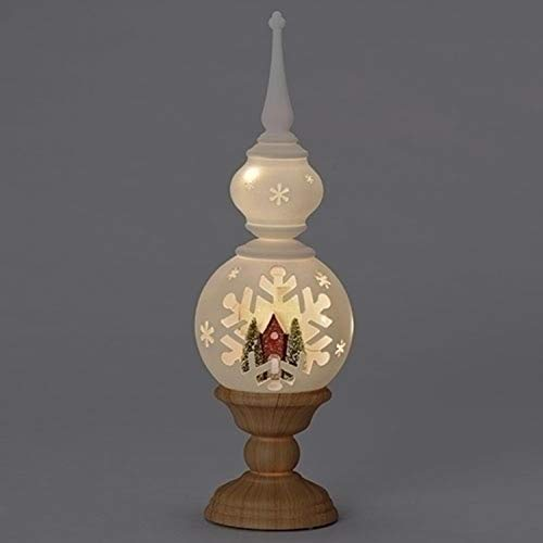 Roman 16'' White Finial House Decorative Table Top Figure with LED Light by Roman