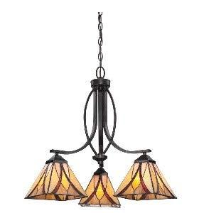 (Quoizel TFAS5003VA Asheville Tiffany Downlight Chandelier, 3-Light, 300 Watts, Valiant Bronze (22