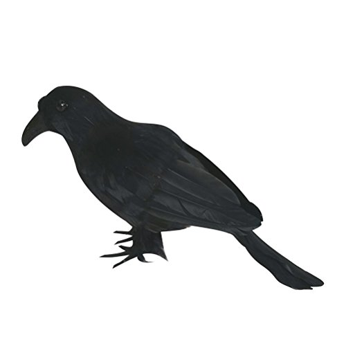 Halloween Black Feathered Crow Realistic Decorations Birds Figurine Statue Model (1PCS) -