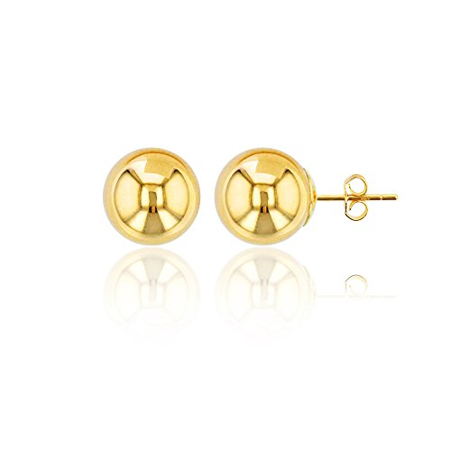 10K Yellow Gold 10mm High Polished Ball Post Stud Earring 10 Mm Pave Ball