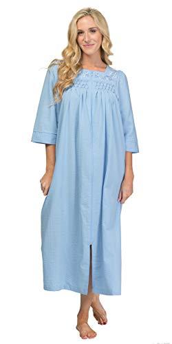 Miss Elaine Seersucker Long Zip Robe (863618) L/Chambray Blue