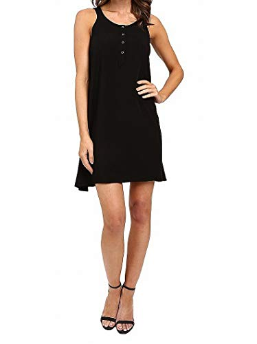 Splendid Women's Asymmetrical Rayon Voile Dress, Black, X-Large