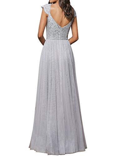 Open Back Dress Prom Tulle Floral Sleeve Bridesmaid Pink Evening Cap Lace Long Gowns vPwnqd