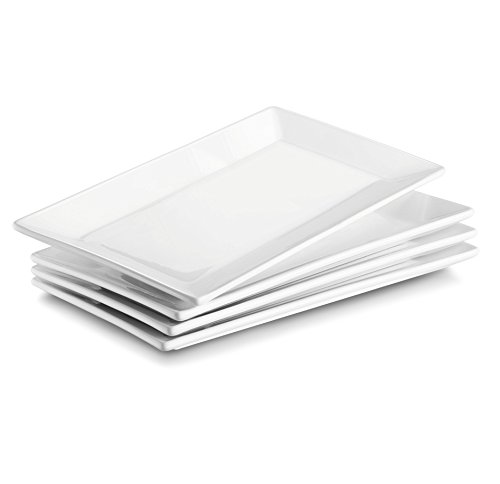 DOWAN 9.7 Inches Porcelain Serving Platters, Side Plates, Set of 4, White (Plates Porcelain Square)