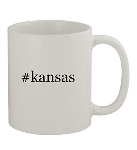 #kansas - 11oz Sturdy Hashtag Ceramic Coffee Cup Mug, White