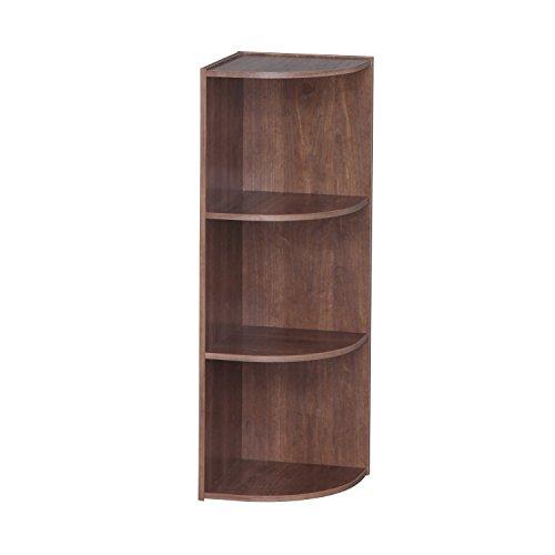 IRIS 3-Tier Corner Curved Shelf Organizer, (Oak Office Shelving Unit)