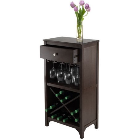 Wine Cabinet, Wine Cabinet With Shelf, Dark Espresso, 24- Bottle, Wood