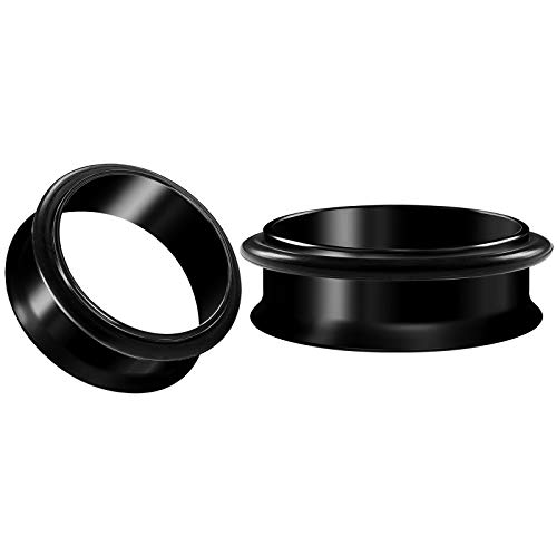 BIG GAUGES Pair of Surgical Steel 1 1/2 38mm Black Anodized Single Flared Piercing Ear Flesh Tunnel Stretcher O-Ring Earring Plug BG5360