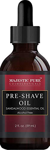 Shaving Kit for Men with Sandalwood by Majestic Pure  Set Includes Pre Shave Oil Shaving Cream Badger Shaving Brush and After Shave Balm 4 Pieces Perfect Gift Set