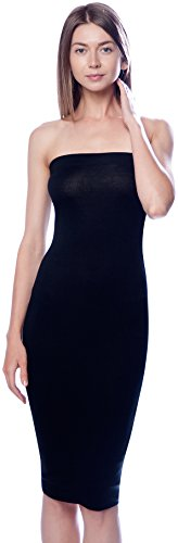 DNA Couture Womens Basic Strapless Bodycon Mini Tube Dress Large (Black Strapless Prom Dress)