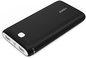 AUKEY Batería Externa 20000mAh para iPhone, Samsung, iPad, LG, HTC, Kindle, Tablets etc, Entrada 5V/2.1A y Salida 5V/3.1A Max para 2 Puertos, Indicador LED Indicator y Flash (Negro)