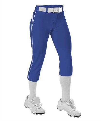 Alleson Ahtletic Girls Fast Pitch Softball Pants with Belt Loops, Royal/White, X-Large