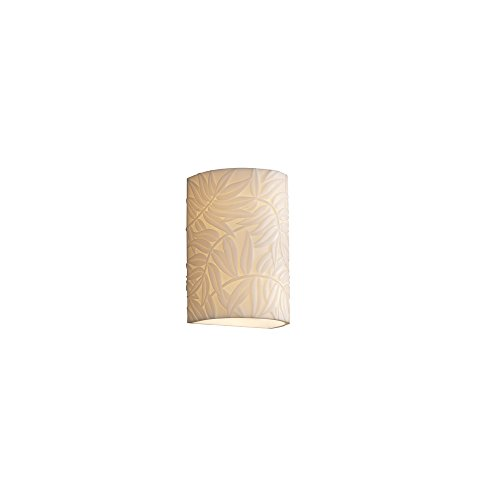 Justice Design Group Porcelina 1-Light Wall Sconce - Bamboo Faux Porcelain Resin Shade