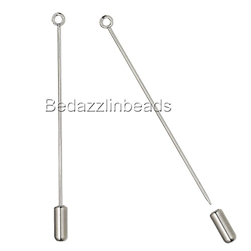 Lot of 6 Surgical Stainless Steel 2 1/2 inch Hat Stick Pin Findings w/ Loop & - Pin Hat
