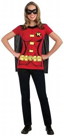 Rubies 212048 Robin - Female - T-Shirt Adult Costume Kit - Red - Large