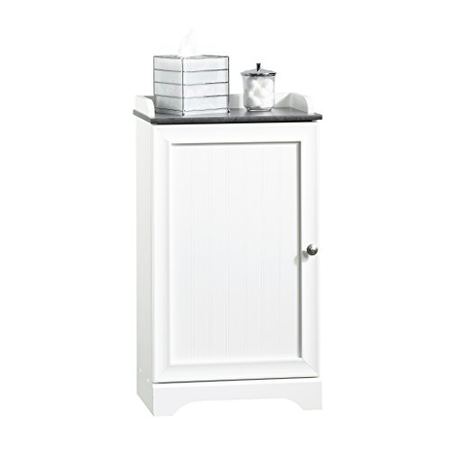 White Bathroom Furniture - Sauder 414032 Caraway Floor Cabinet, L: 17.64