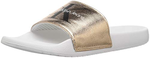 Calvin Klein Jeans Women's Chantal Slide Sandal, Rose Gold/White, 10 Medium US by Calvin Klein Jeans