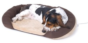 KandH 35-Inch by 26-Inch by 8-Inch Large Thermo Pet Bolster Bed, Mocha, My Pet Supplies