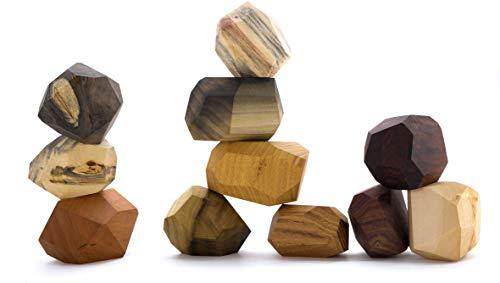 11 Piece Tumi Ishi Wood Rock Set - Mixed Wood Species - Balancing Blocks - Natural Wood Toy - Organic Jojoba Oil and Beeswax Finish - Open-ended Educational Montessori Toy - Sensory Toy - USA Made