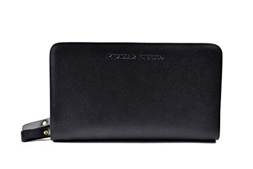 Zerimar Handbrieftasche Große und Elegante Handbrieftasche aus Leder mit mehreren Fächern portmonee für foto Briftasche echt leder gelbörse Schwarz8