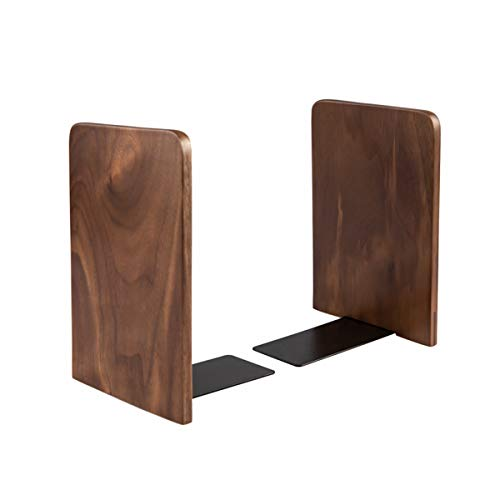pandapark Wood Bookends,Pack of 1 Pair,Non-Skid,Black Walnut,Office Book Stand (Black Walnut-A Plus)