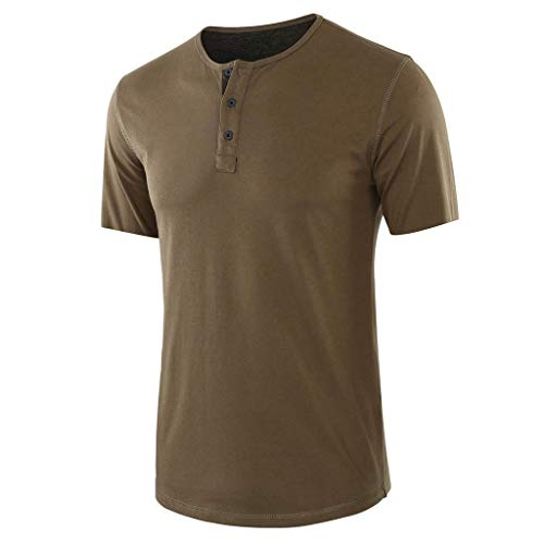 TOPUNDER Fashion Men's Baggy Solid Short Sleeve Button O-Neck T Shirts Tops Blouses Army Green