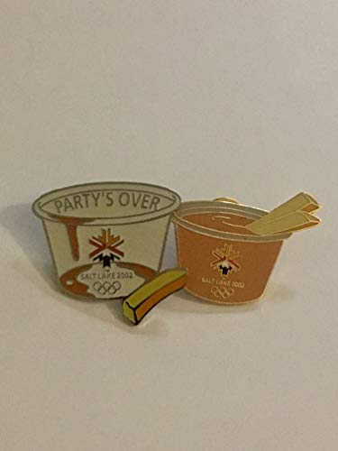 Rare 2002 Salt Lake City Winter Olympics Fry Sauce & Party's Over End of Games Empty Cup Set of 2 Pins