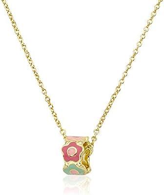Little Miss Twin Stars Little Miss Flower Girls 14k Gold Plated Pendant Necklace 14+2