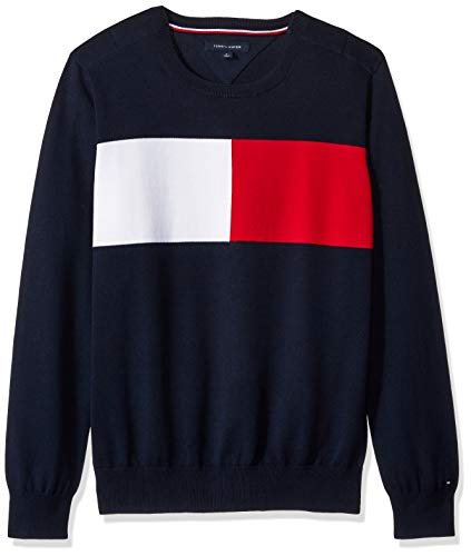 Tommy Hilfiger Men's Adaptive Crew Sweatshirt with Velcro Shoulder Closure, Navy blazer, X Large